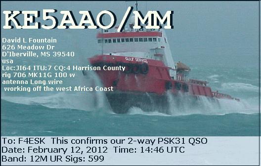 Première QSL en Maritime Mobile ! dans trafic KE5AAO-MM
